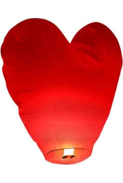 Tahtakale Toptancısı Dilek Feneri Kalpli Model (Kalıpli Dilek Feneri) 80 x 80 cm Kırmızı