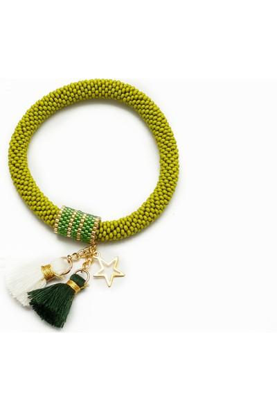 Barbiel Design Fıstık Yeşili Miyuki Bohem Püsküllü El Yapımı Bileklik