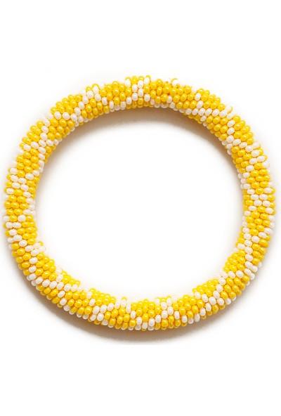 Barbiel Design Sarı-Beyaz Küçük Baklava Desenli Bohem Bileklik
