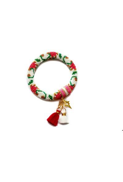 Barbiel Design Beyaz - Pembe Çiçekli Miyuki El Yapımı Bohem Püsküllü Bileklik