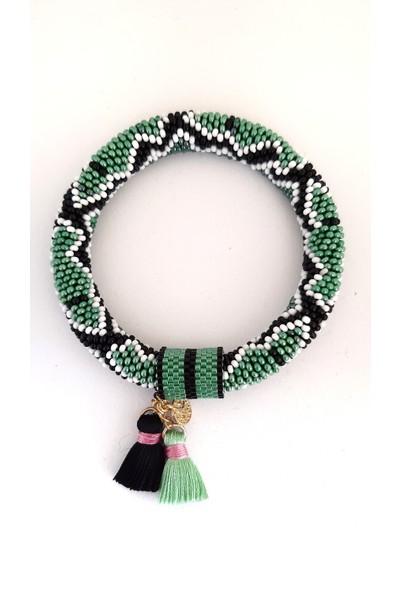 Barbiel Design Yeşil-Siyah Yılan Desenli Miyuki Bohem Bileklik