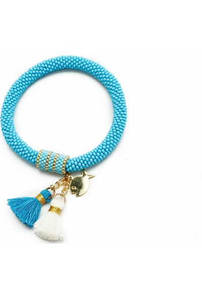 Barbiel Design Mavi Miyuki Bohem Püsküllü El Yapımı Bileklik