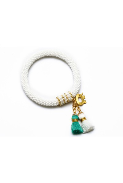 Barbiel Design Beyaz Miyuki Bohem Püsküllü Bileklik