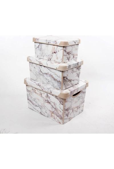 Qutu Style Box Marble Set 3 Parça Dekoratif Saklama Kutusu