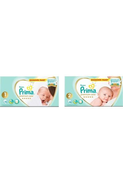 Prima Premium Care 1+2 Numara Toplam 180 Adet Bebek Bezi