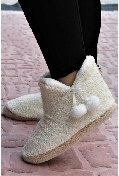 RedPlay Simli Krem Kadın Panduf Ev Ayakkabısı Ev Botu