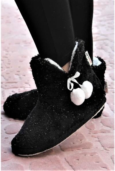 RedPlay Simli Siyah Kadın Panduf Ev Ayakkabısı Ev Botu