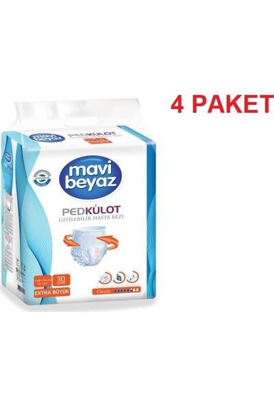 Mavi Beyaz Ped Emici Külot Hasta Bezi XL Extra Büyük x 4