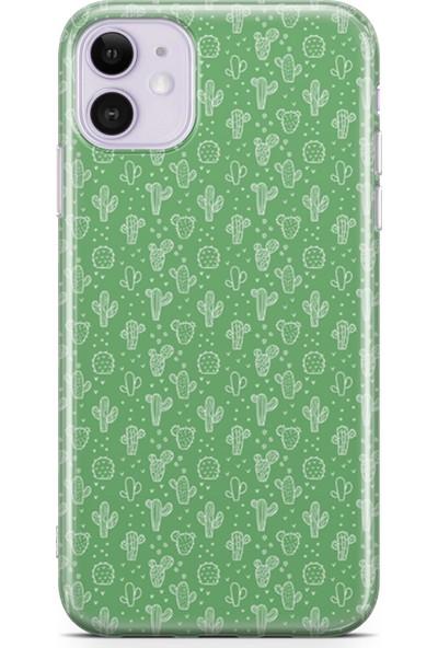 Lopard Apple iPhone 11 Kılıf Silikon Arka Kapak Koruyucu Kaktüs 3 Desenli
