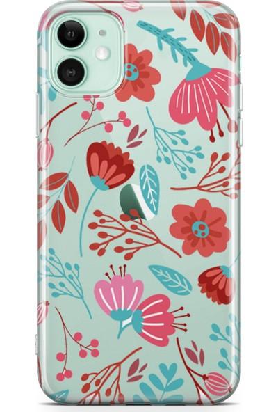 Lopard Apple iPhone 11 Kılıf Silikon Arka Kapak Koruyucu Pembe Yeşil Flora Desenli