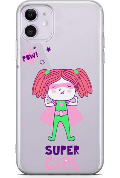 Lopard Apple iPhone 11 Kılıf Silikon Arka Kapak Koruyucu Pow Super Girl Desenli