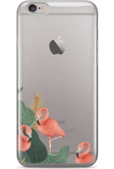 Lopard Apple iPhone 6 6S Kılıf Silikon Arka Kapak Koruyucu Tropikal Flamingolar Desenli