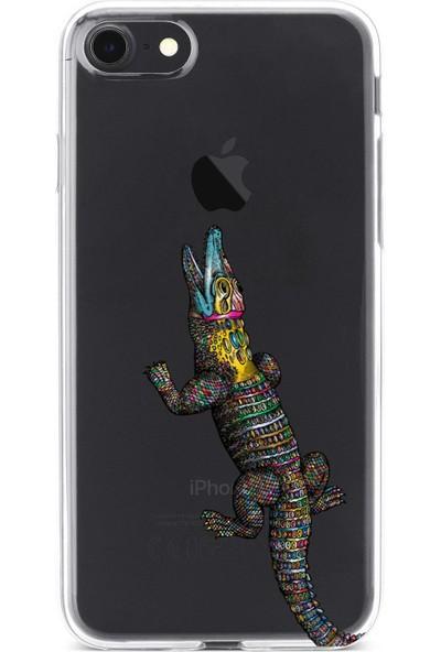 Lopard Apple iPhone 7 Kılıf Silikon Arka Kapak Koruyucu Rengarenk Timsah Desenli