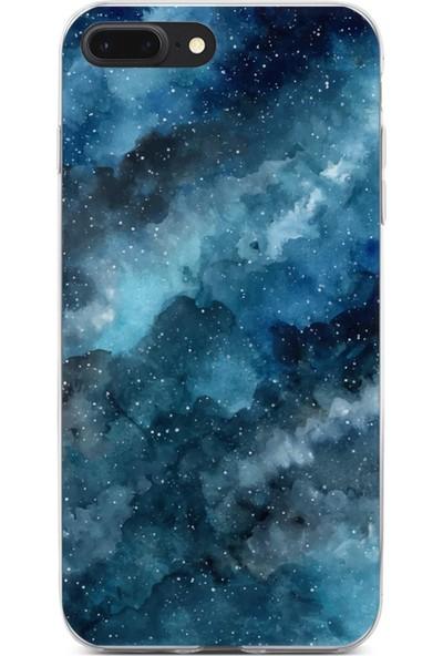 Lopard Apple iPhone 7 Plus Kılıf Silikon Arka Kapak Koruyucu Gece ve Bulutlar Desenli