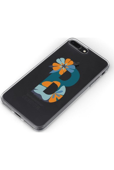 Lopard Apple iPhone 8 Plus Kılıf Silikon Arka Kapak Koruyucu B Harfi Çiçekli Desenli