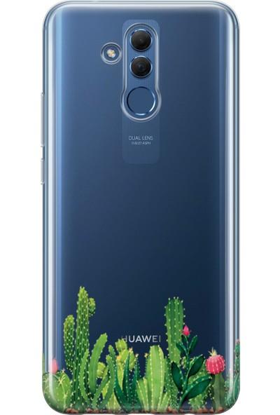 Lopard Huawei Mate 20 Lite Kılıf Silikon Arka Kapak Koruyucu Kaktus Behçesi Desenli