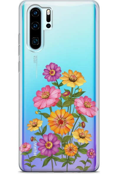 Lopard Huawei P30 Pro Kılıf Silikon Arka Kapak Koruyucu Pem Sarı Mor Çiçekler Desenli