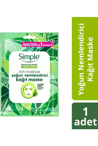 Simple Yoğun Nemlendirici Kağıt Maske 21 ML 1 Adet