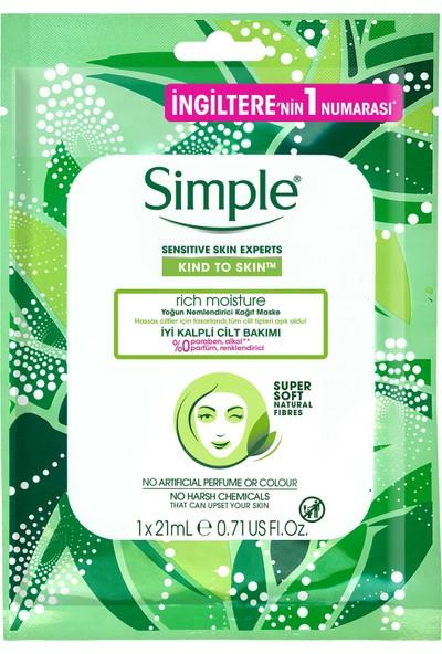Simple Kind To Skin Hassas Ciltlere Uygun Yoğun Nemlendirici Kağıt Maske 21 Ml