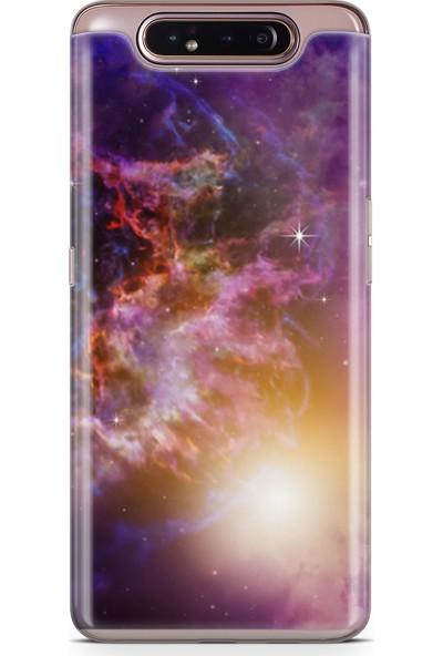 Lopard Samsung Galaxy A80 Kılıf Silikon Arka Kapak Koruyucu Mor Galaksi Desenli