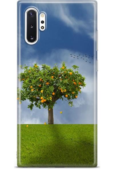 Lopard Samsung Galaxy Note 10 Plus (Pro) Kılıf Silikon Arka Kapak Koruyucu Gün Batımı Ağaç Desenli