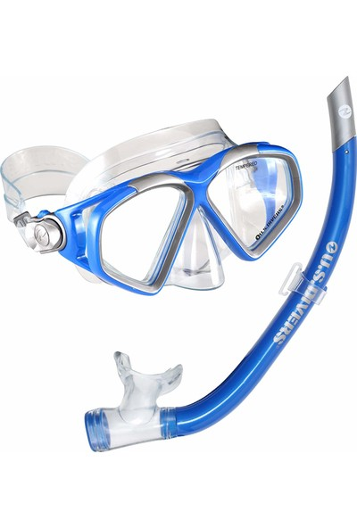 U.s. Divers Cozumel Lx Mask And Airent Snorkel, Electric Blue