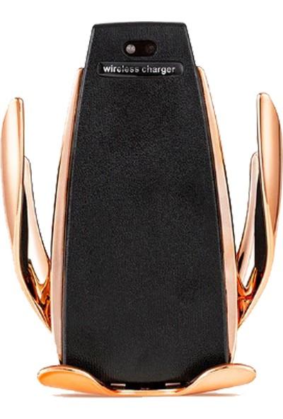 Twinix Araç İçi Kablosuz Hızlı Şarj Otomatik Telefon Tutucu - Gold
