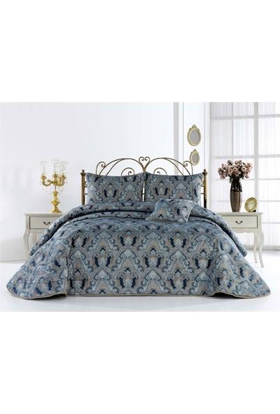 Nazik Çift Kişilik Yatak Örtüsü Feyzan Mavi
