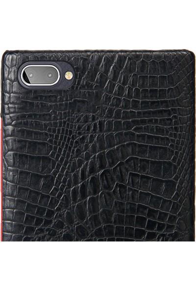 Microcase BlackBerry KEY2 Lite Timsah Deri Kaplama Sert Rubber Kılıf - Siyah