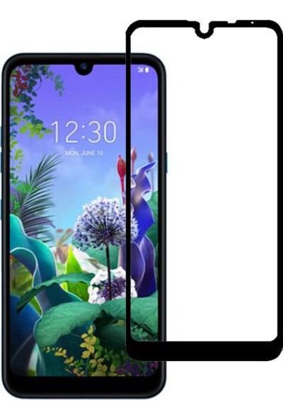 Microcase LG Q60 Tam Kaplayan Çerçeveli Tempered Ekran Koruyucu - Siyah
