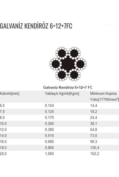 Peronline 14 mm 6 x 12 + 7 Galvanizli Gergi Halatı 10 m