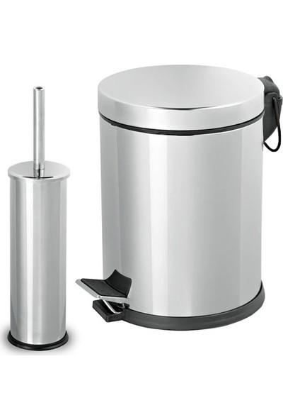 Aksesuaros Banyo Seti - 3 Litre (Lt) Çöp Kovası ve Tuvalet Fırçası