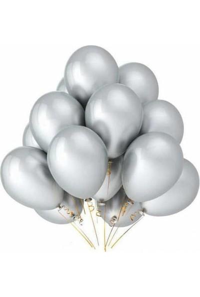 Balon Metalik Sedefli Kaliteli Balon Gümüş 100 Adet