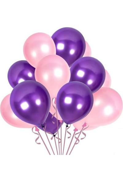 Balon Metalik Sedefli Kaliteli Balon Pembe Mor 50 Adet