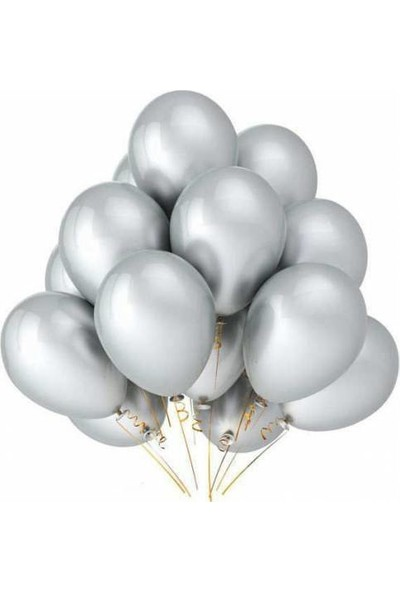 Balon Metalik Sedefli Kaliteli Balon Gümüş 25 Adet