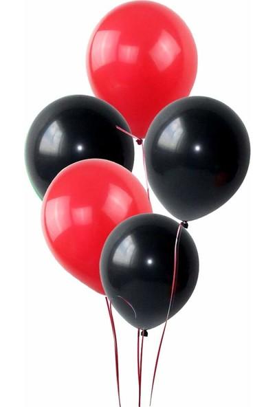 Balon Metalik Sedefli Balon 25 Kırmızı 25 Siyah Karışık 50 Adet