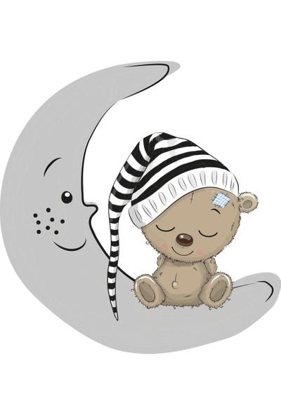 Tilki Dünyası Uyuyan Ayıcık Gri Yıldızlar ve Gri Bulutlar Dekoratif Bebek Çocuk Odası Sticker