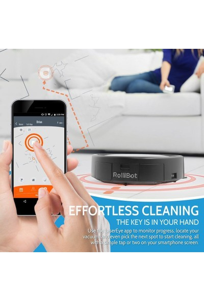 Rollibot LE-601 Top Ranked 3D Laser Mapping Lasereye Robot Vacuum Orange