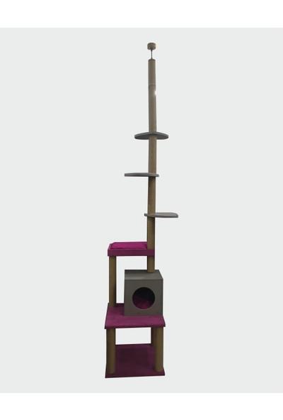Zigana Pet Kedi Tırmalama 50 x 50 x 270 cm Buyuk Yataklı Ev Model