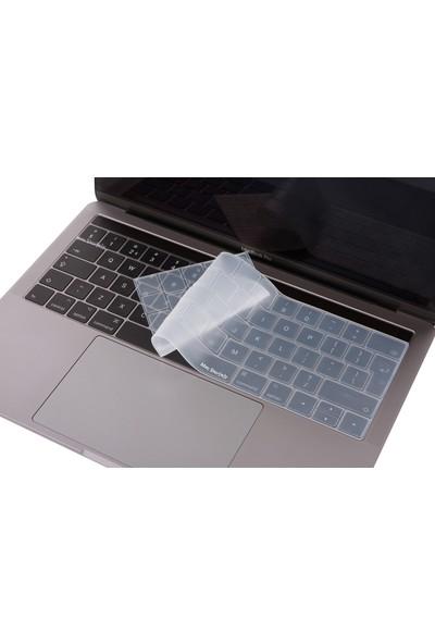 Macstorey Apple Macbook Pro A1706 A1989 13 A1707 A1990 15 Toucbarlı Q Klavye Koruyucu Silikon Kılıf UK İngilizce 1353 - Şeffaf
