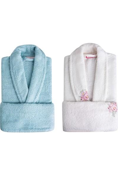 Sarah Anderson Peny 4 Parça Aile Banyo Seti Krem Mavi
