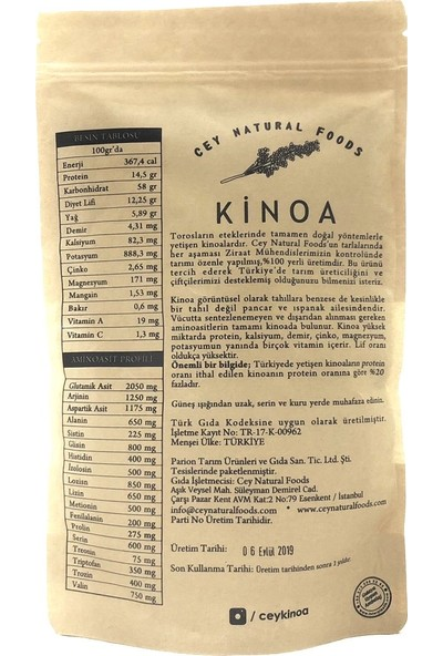 Cey Natural Foods Kinoa 500 gr