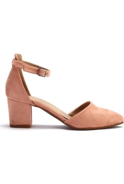 Pabucchi Kadın Kalın Kısa Topuklu Bilekten Bağlamalı Stiletto Ayakkabı