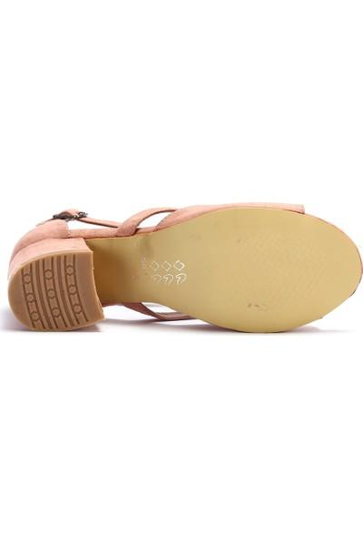 Pabucchi Kadın Topuklu Stiletto Süet Bilekten Bağlamalı Yazlık Ayakkabı