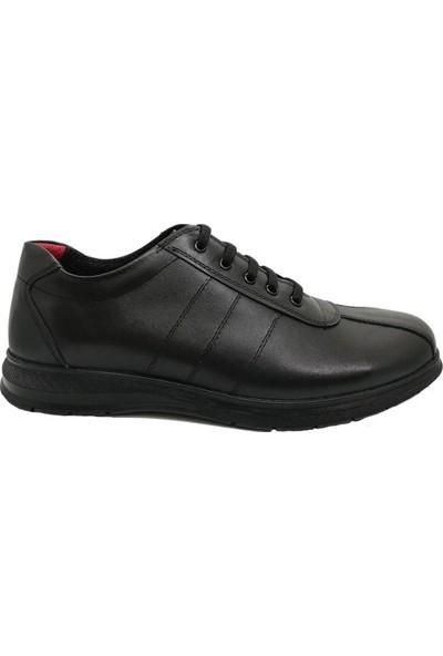 Pabucchi Siyah Bağcıklı Kauçuk Taban Kadın Ayakkabı