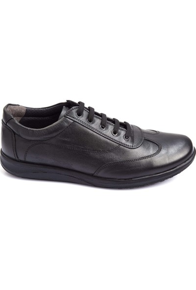 Pabucchi Siyah Oxford Bağcıklı Deri Erkek Günlük Ayakkabı