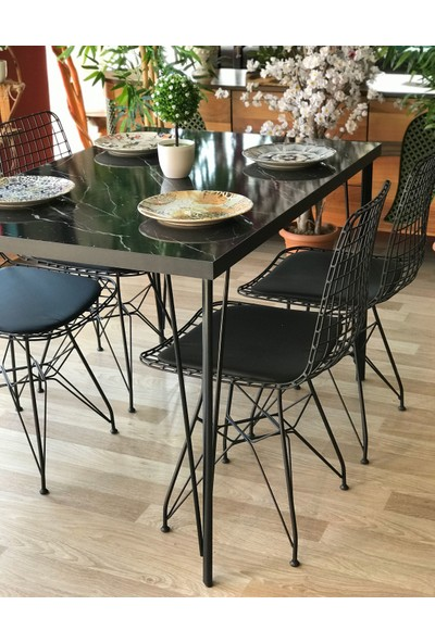 Te Home Siyah Mermer Desenli 110 cm Masa Takımı Dört Sandalye