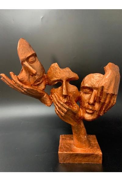 By Arı Ev Dekorasyon Görmedim Duymadım Bilmiyorum Üçlü Mask Heykel Biblo
