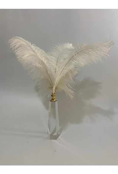 By Arı Ev Dekorasyon Beyaz Tüylü Kristal Gold