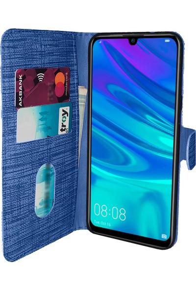 Samsung Galaxy A10 Kılıf FitCase Fabric Kapaklı Cüzdanlı - Mavi